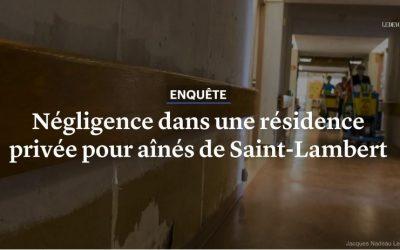 Négligence dans une résidence privée pour aînés de Saint-Lambert